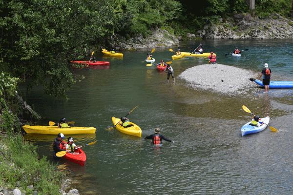 川辺川でのカヤック